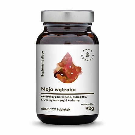 Moja Wątroba Karczoch Ostropest Plamisty Sylimaryna Suplement diety na 2 miesiące Aura HErbals
